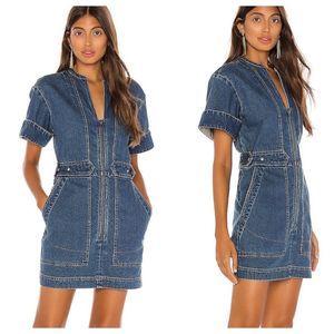 Free People Dream On Denim Mini Dress. NEW Small
